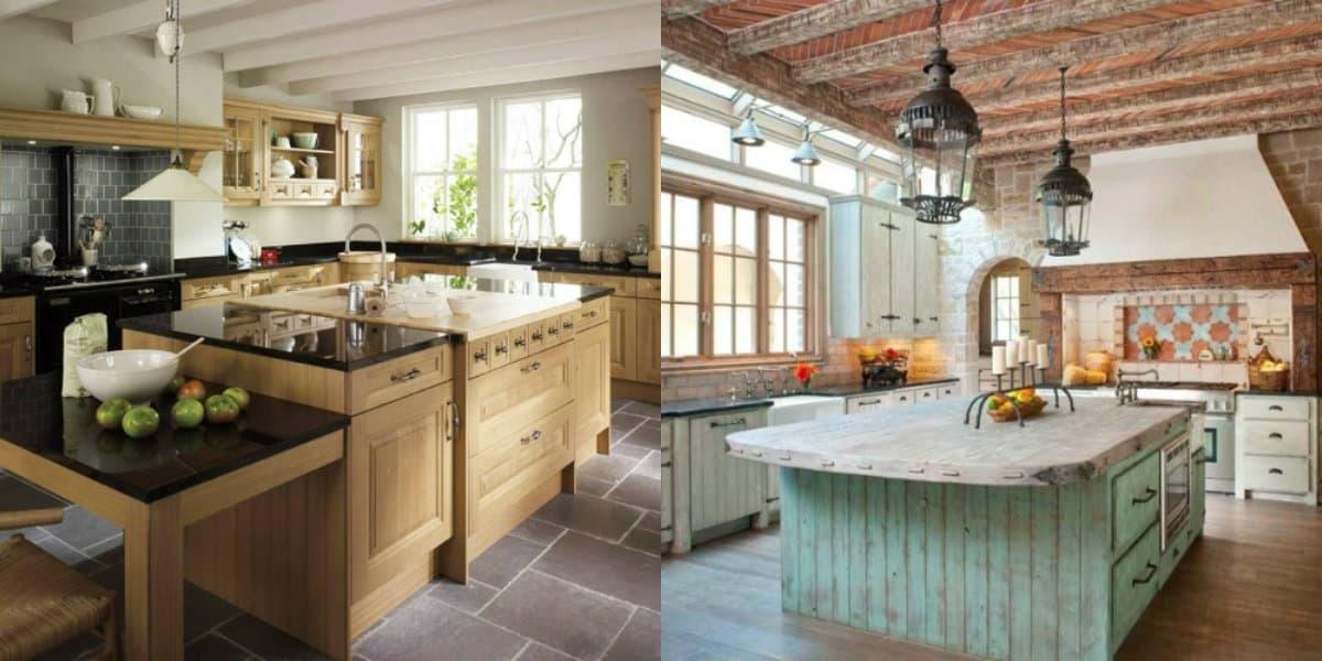 Кухня в стиле Кантри: деревянный потолок
