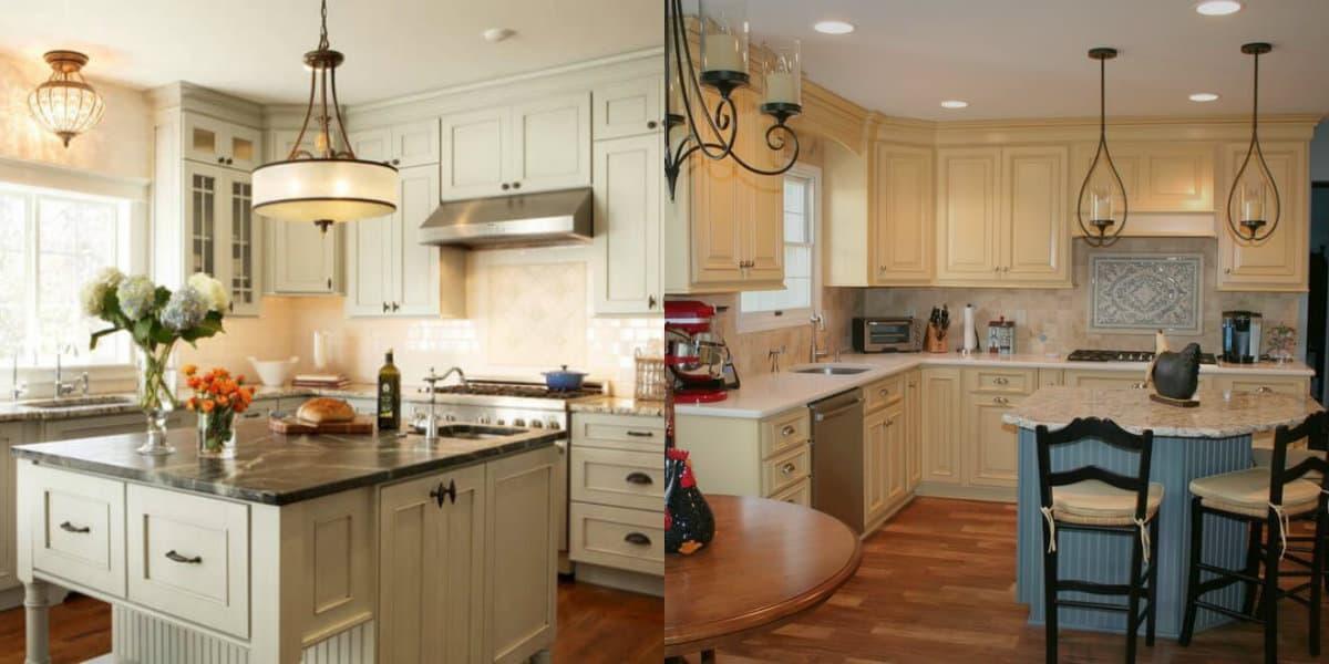 Кухня в стиле Кантри: светлая мебель