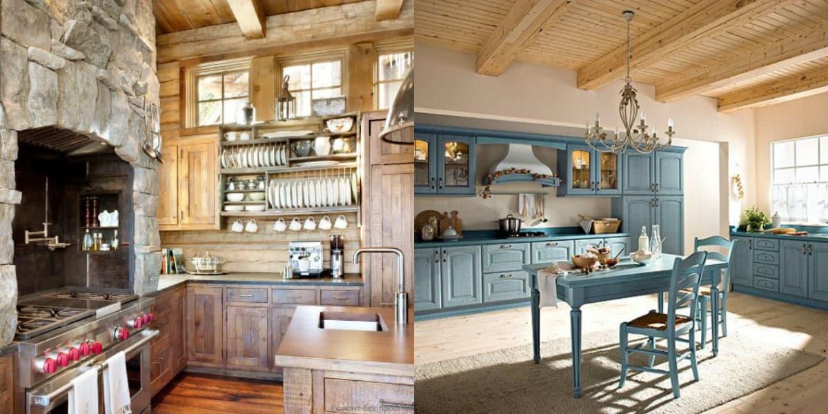 Кухня в стиле Кантри: камень интерьере