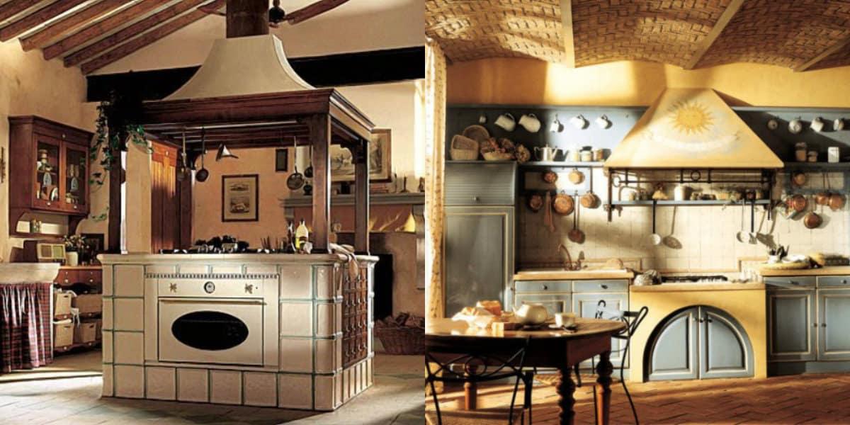 Кухня в стиле Кантри: печь и вытяжка
