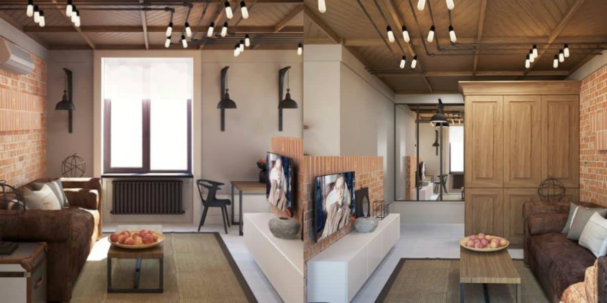 Стиль Лофт в интерьере : красивая гостиная