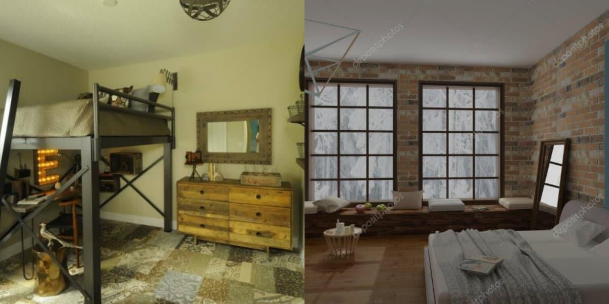 Стиль Лофт в интерьере : двухуровневая кровать