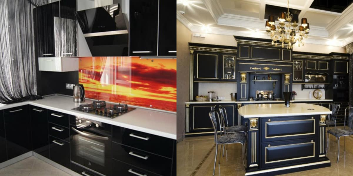 Интерьер черных кухонь: яркий фартук