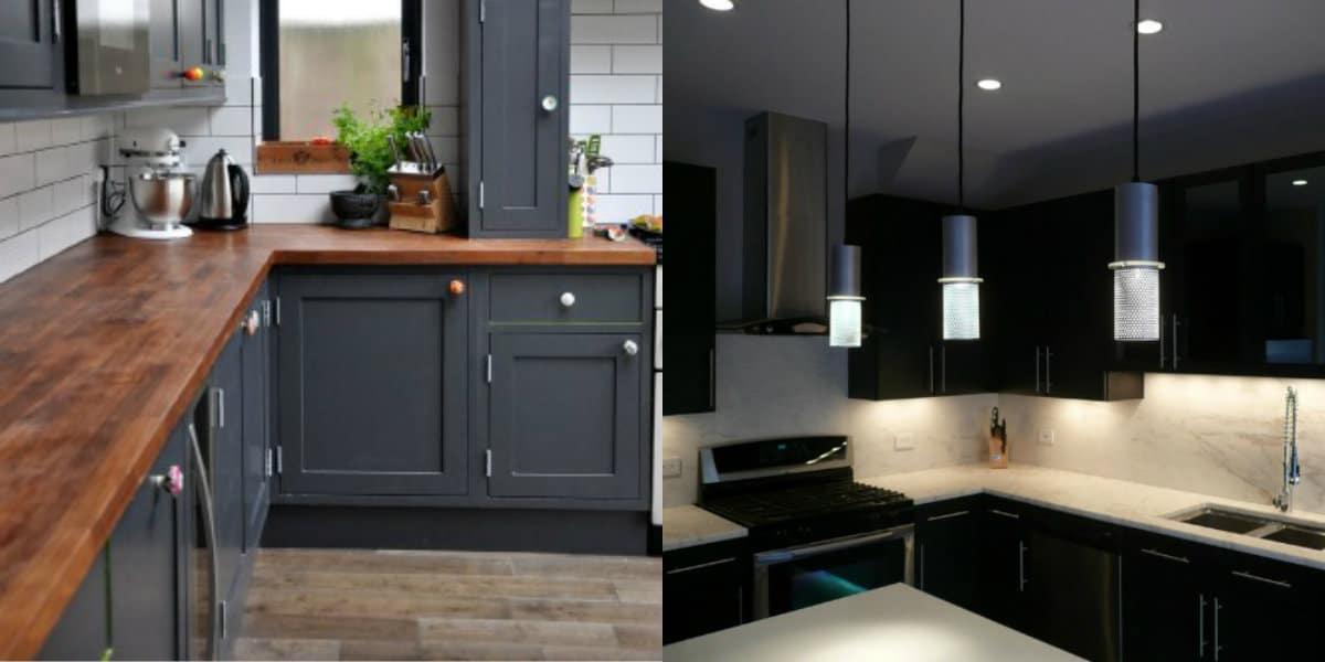 Интерьер черных кухонь: светильники