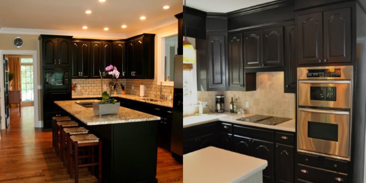 Интерьер черных кухонь: свет в интерьере