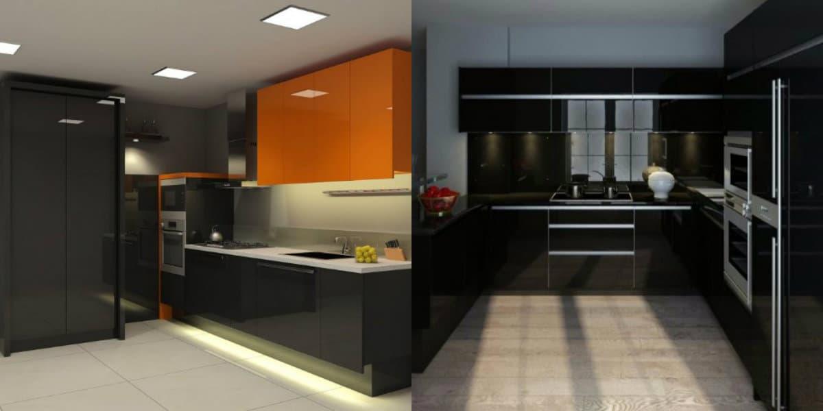Интерьер черных кухонь: чркие акценты