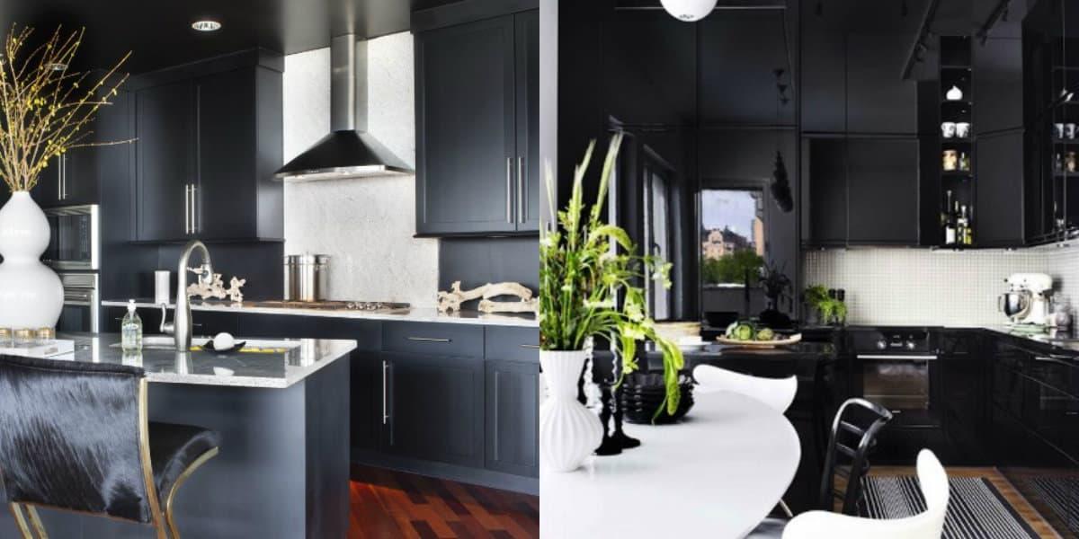 Интерьер черных кухонь: контрастные решения