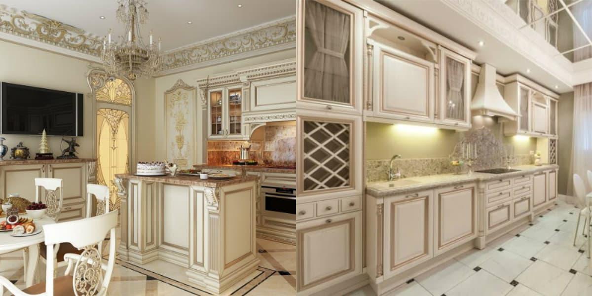 Кухня в классическом стиле : мебель и фартук