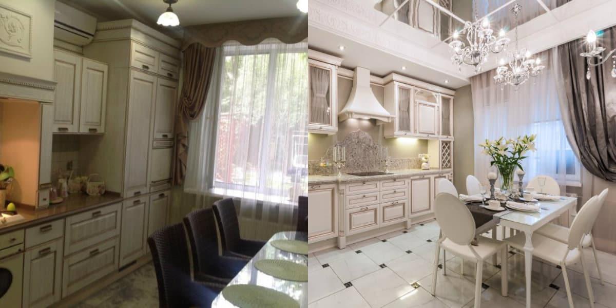 Кухня в классическом стиле : оформление окна