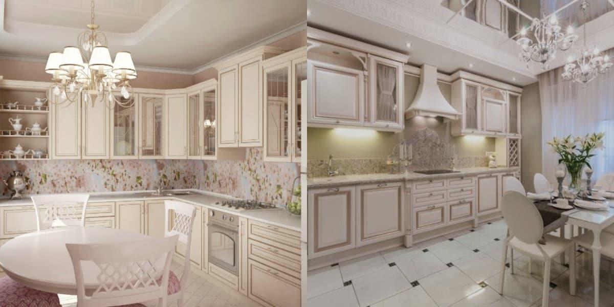 Кухня в классическом стиле : бежевые варианты