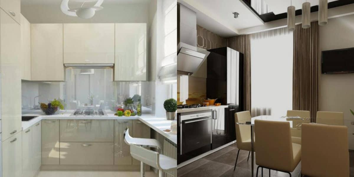 Кухня в современном стиле: разноуровневые потолки