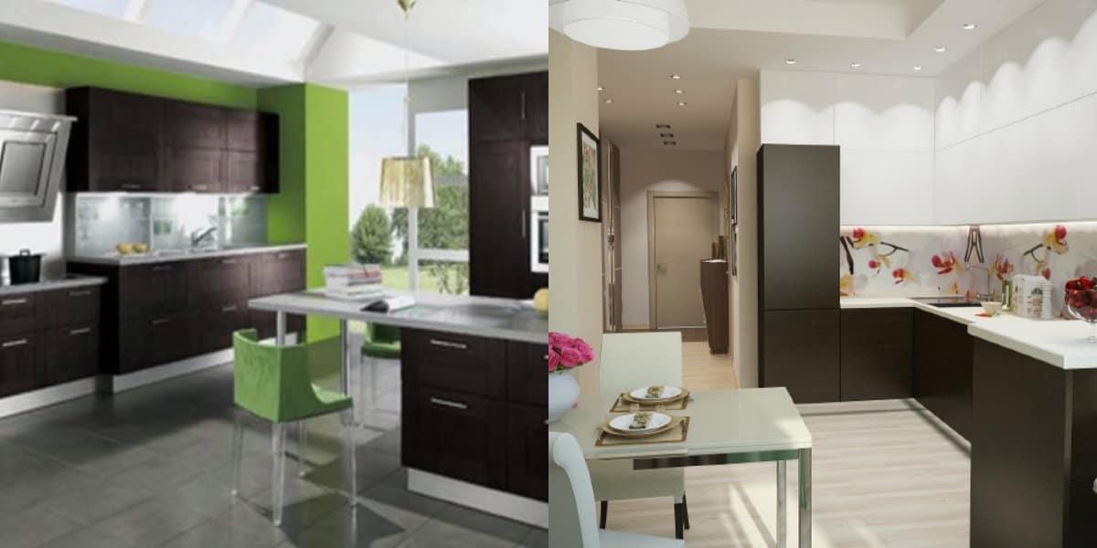 Кухня в современном стиле: мебель с темными фасадами
