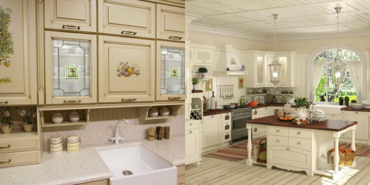 Кухня в стиле Прованс: мебель с росписью