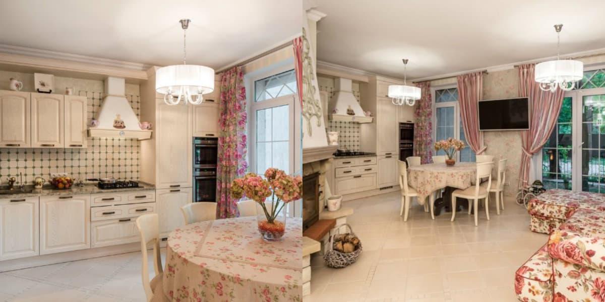 Кухня в стиле Прованс: цветочный текстиль