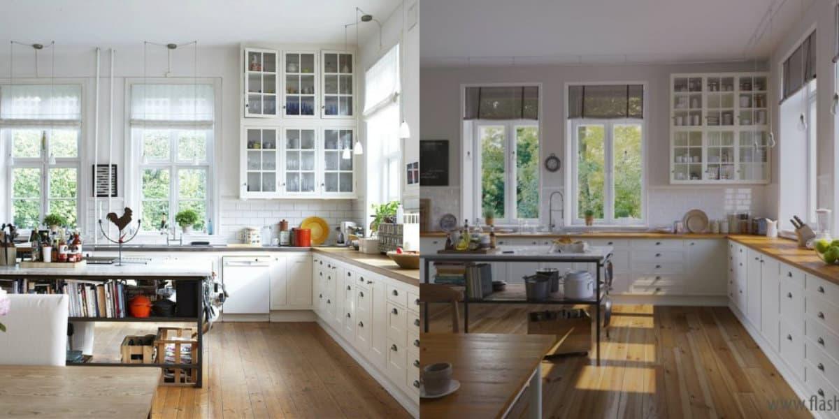 Кухня в стиле Прованс: варианты белок мебели