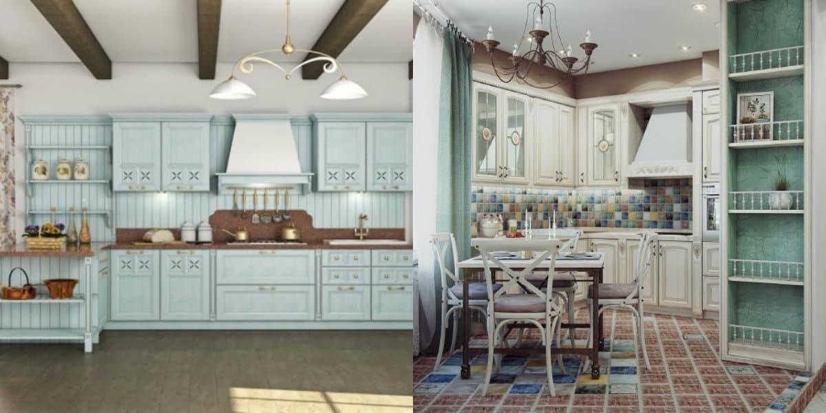 Кухня в стиле Прованс: светильники