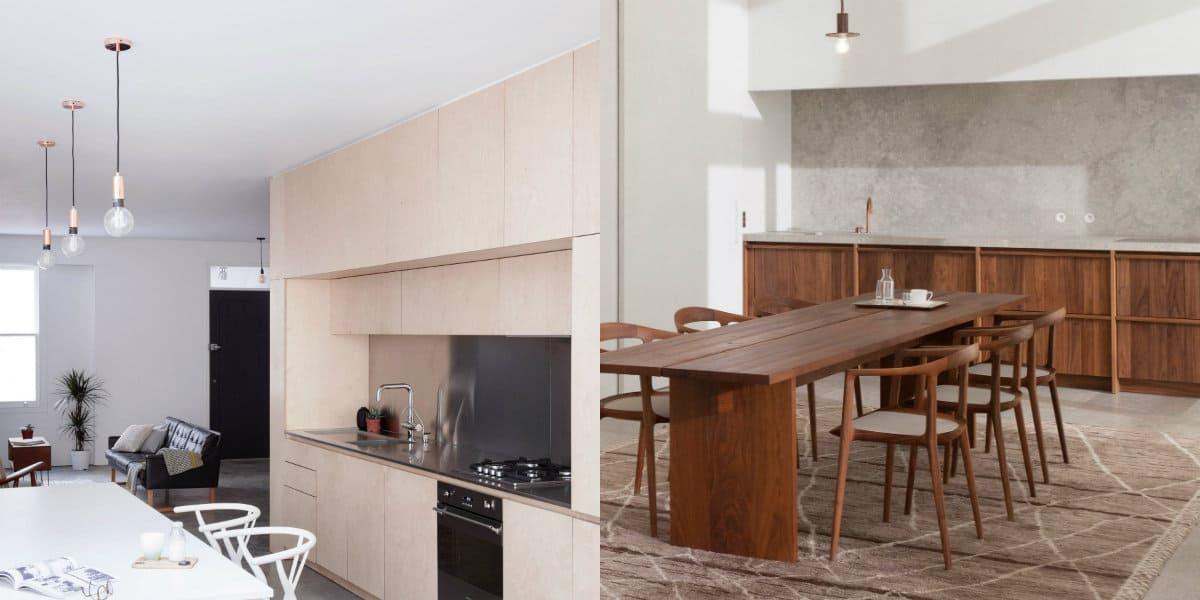 Кухня в стиле минимализм: дерево в интерьере