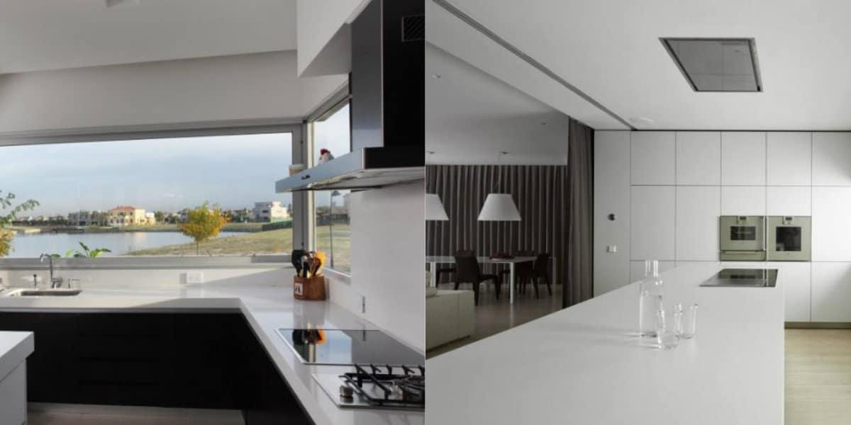 Кухня в стиле минимализм: белые столешницы