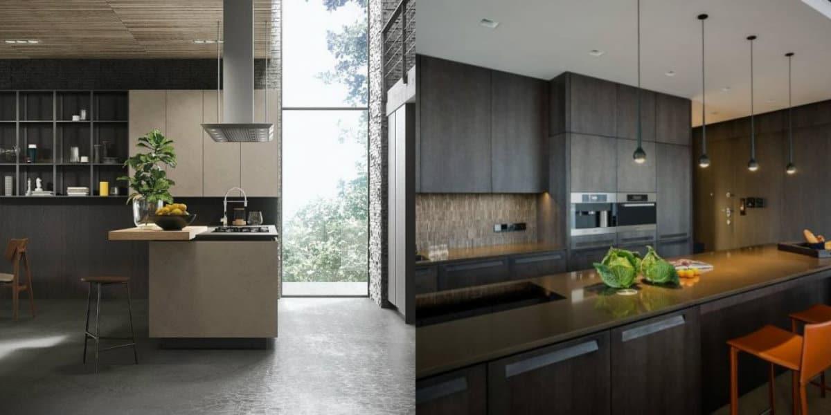 Кухня в стиле минимализм в темных тонах