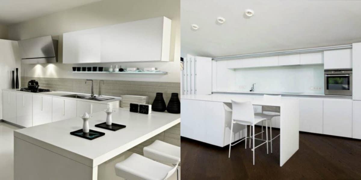 Кухня в стиле минимализм: белый дизайн