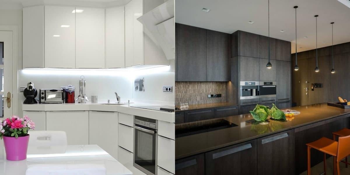 Кухня в стиле Хай тек: черный и белый интерьер