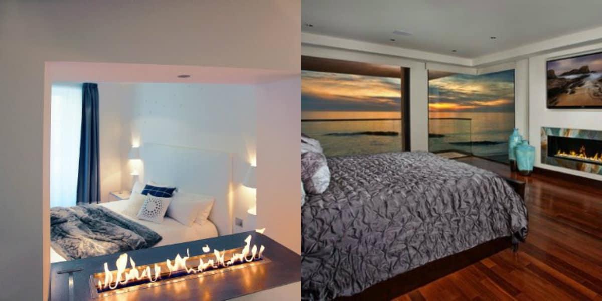 спальня в современном стиле: камин