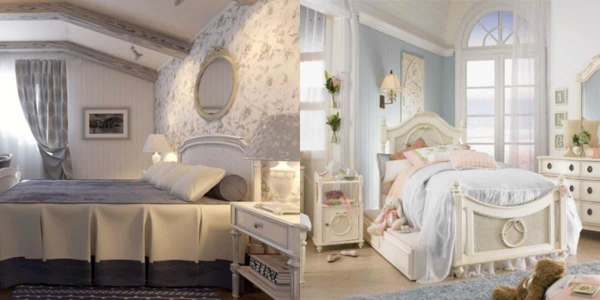 Спальня в стиле Прованс : зеркало в интерьере