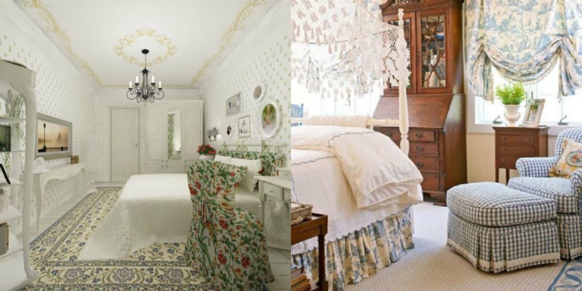 Спальня в стиле Прованс : цветочный текстиль