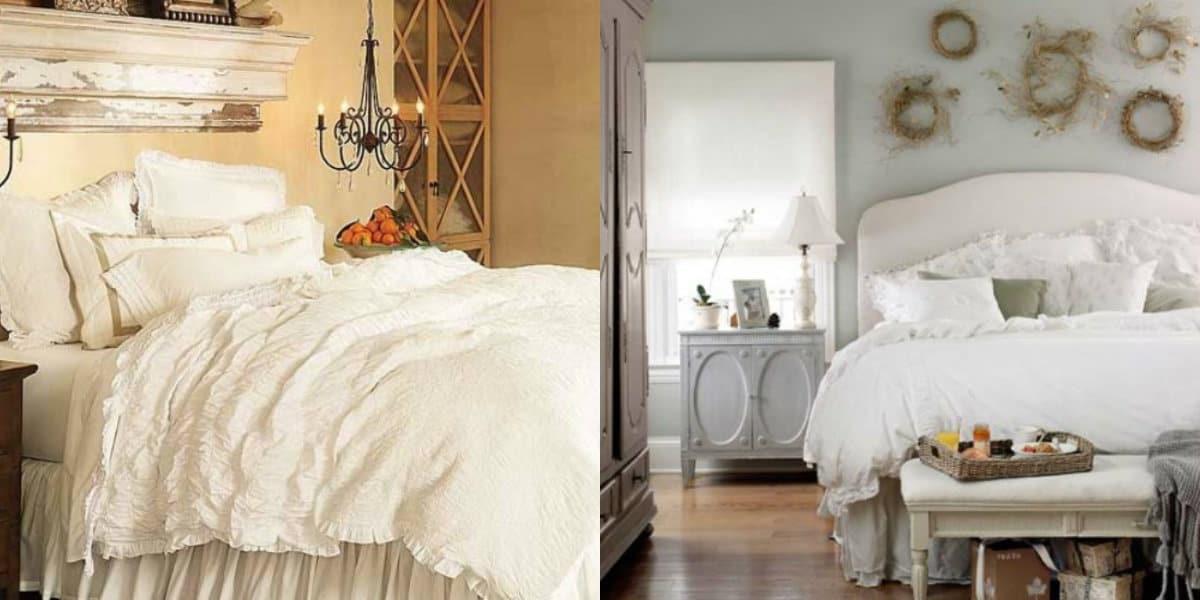 Спальня в стиле Прованс : оформление кровати
