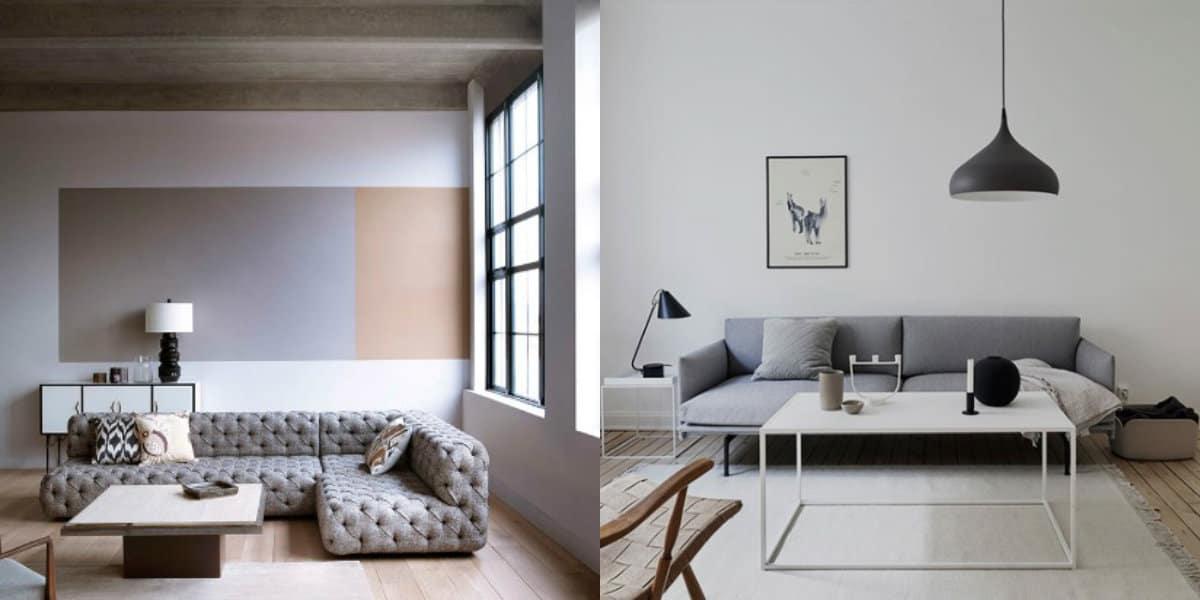 Стиль минимализм в интерьере: серая гостиная