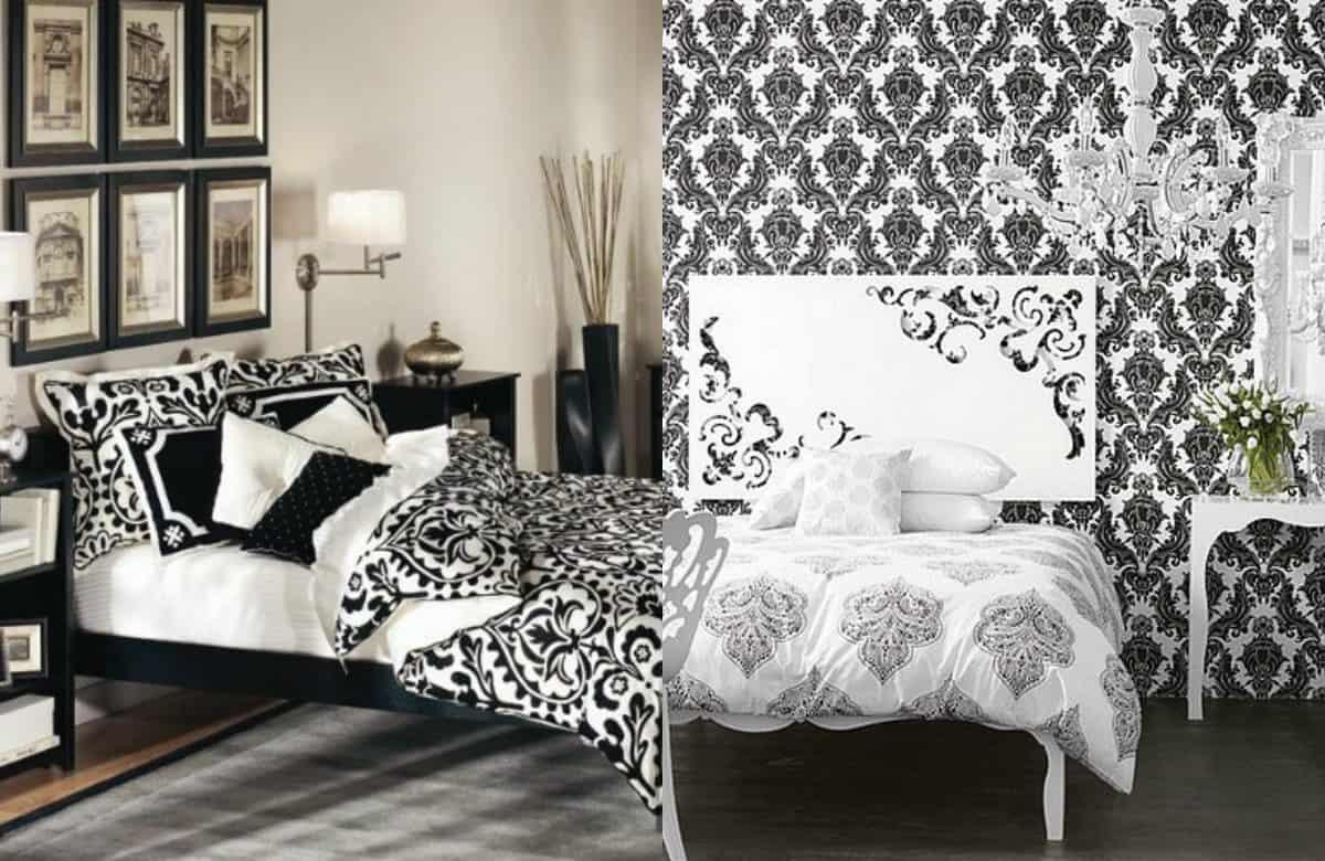 Черно белая спальня : орнаменты