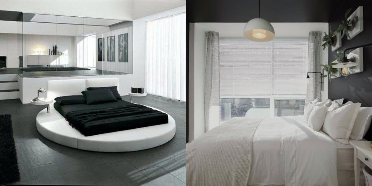 Черно белая спальня : круглая кровать