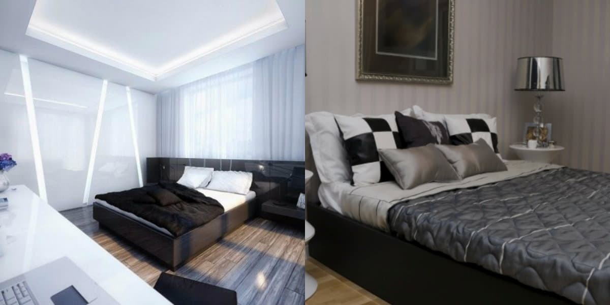 Черно белая спальня : Ар-нуво
