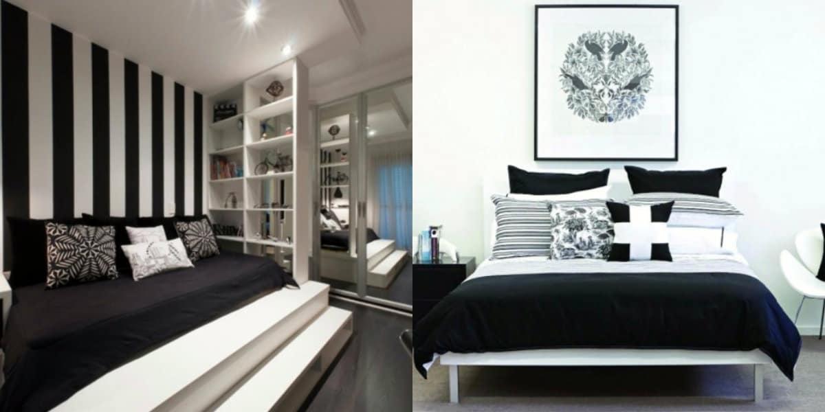Черно белая спальня : холодные и теплые оттенки
