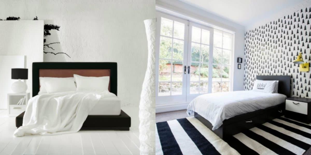 Черно белая спальня : декор