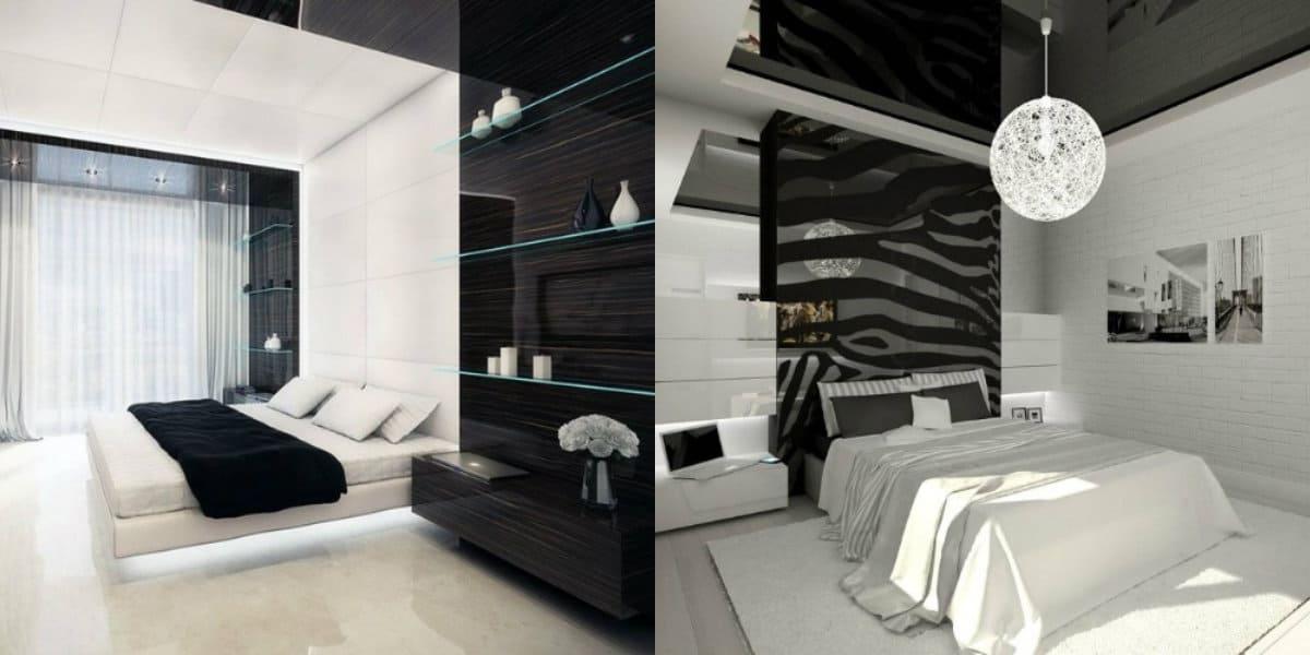 Черно белая спальня : минимализм
