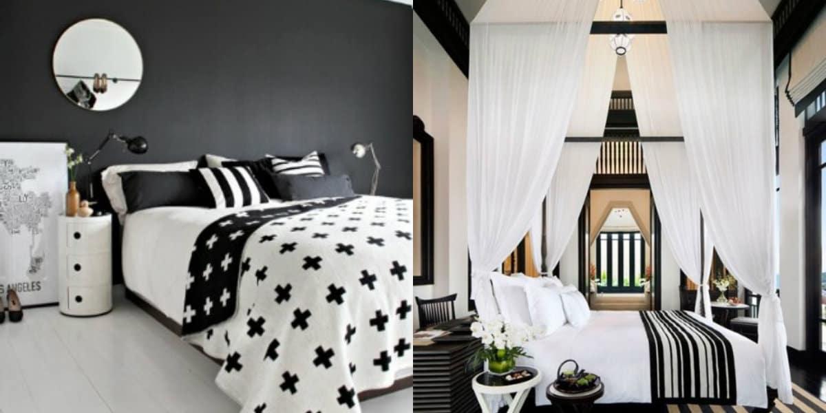 Черно белый интерьер спальни: балдахин в интерьере