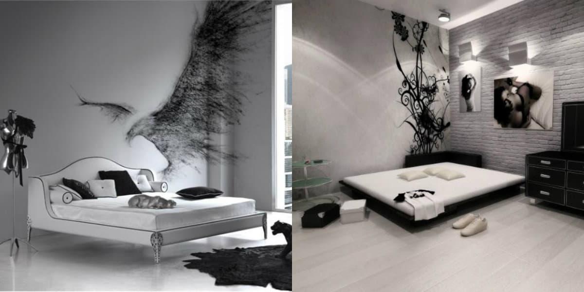 Черно белый интерьер спальни: красивый дизайн