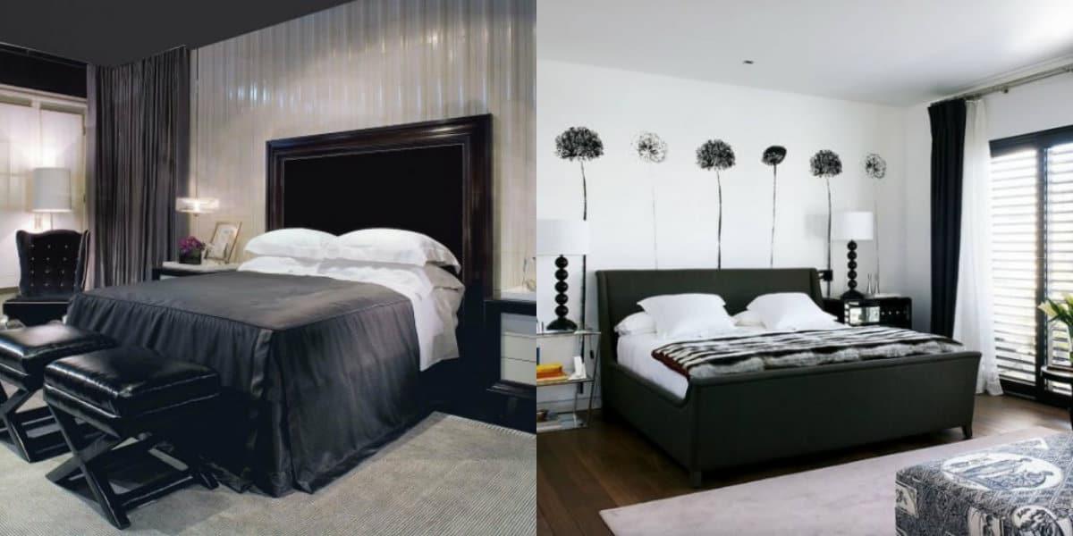 Черно белый интерьер спальни: королевкая кровть
