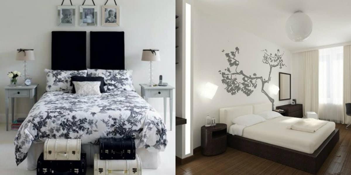 Черно белый интерьер спальни: наклейка в интернете