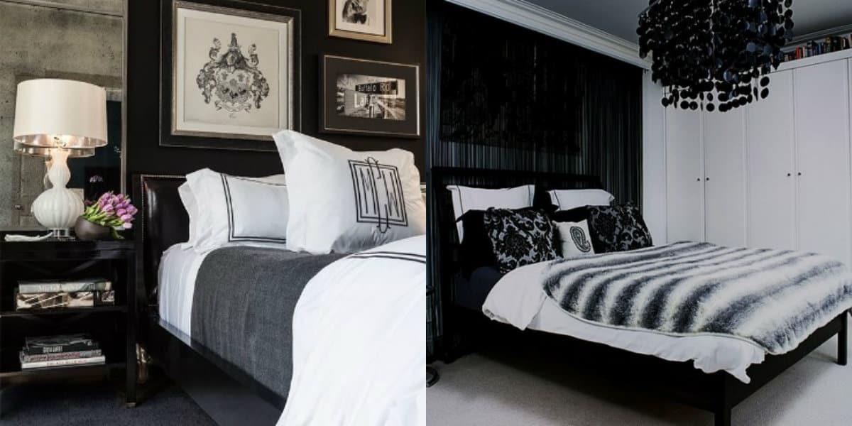 Черно белый интерьер спальни: ретро интерьер