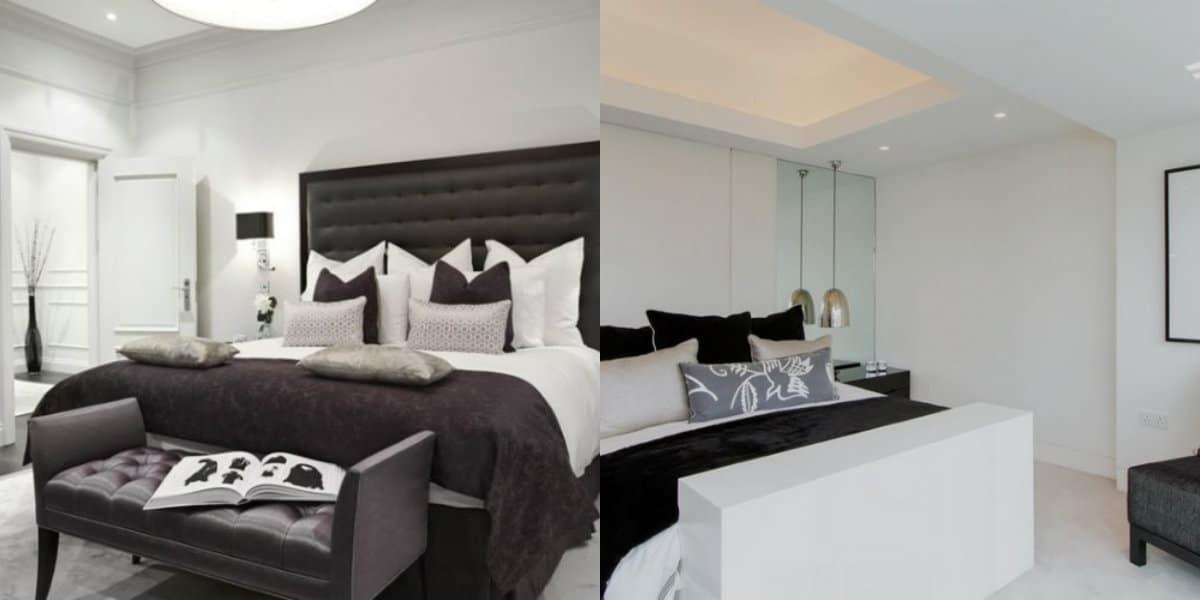 Черно белый интерьер спальни: кровать в интерьере