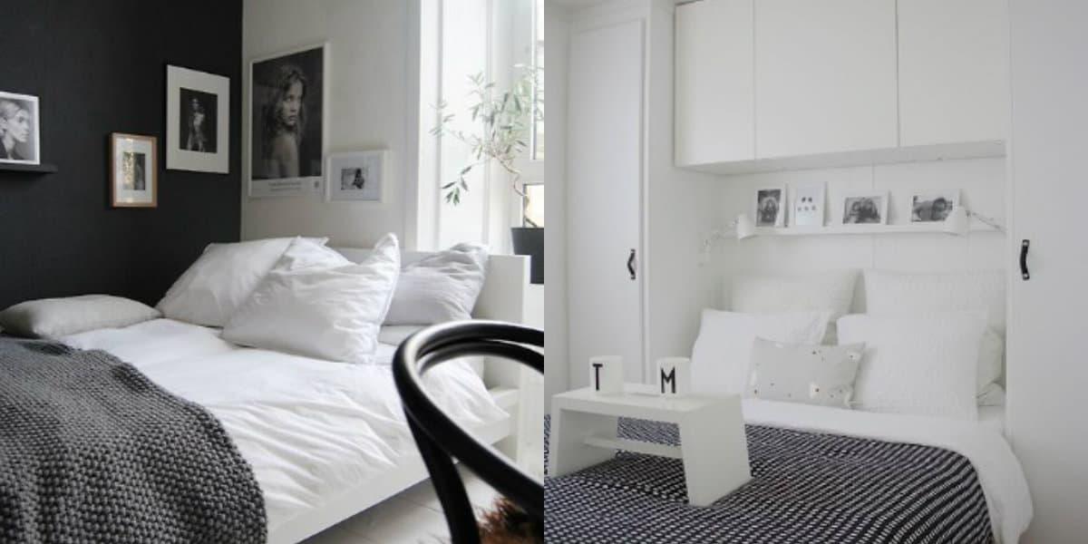 Черно белый интерьер спальни: бюджетный дизайн