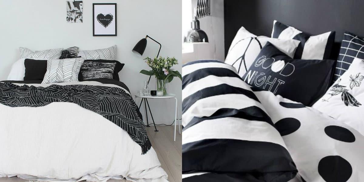 Черно белый интерьер спальни: дизайн покрывала