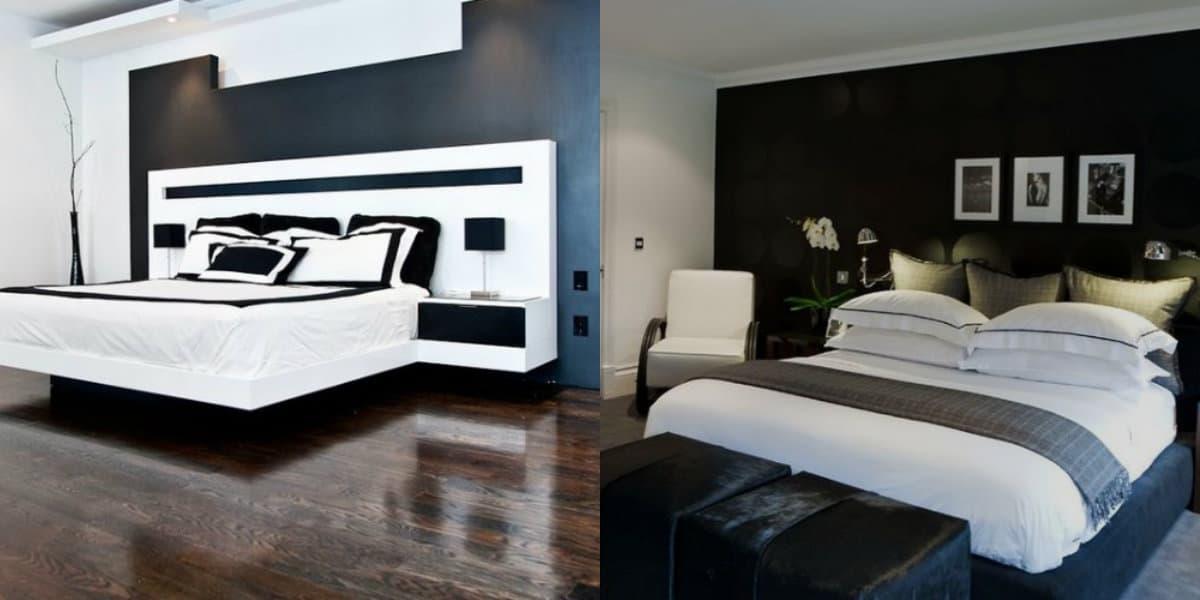 Черно белый интерьер спальни: темный пол