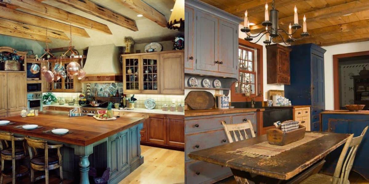 Кухня в деревенском стиле: винтажная мебель