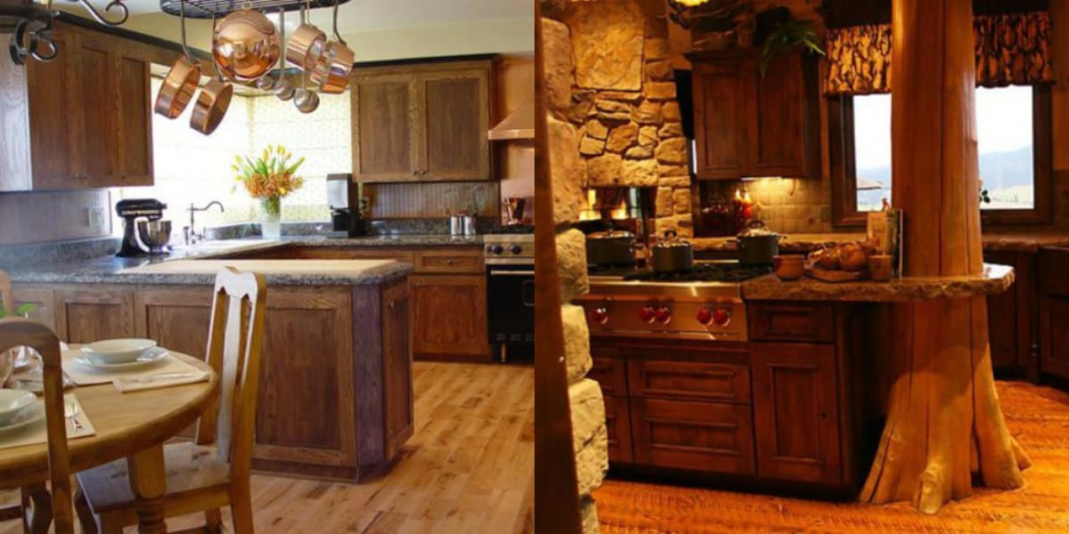 Кухня в деревенском стиле: обилие дерева