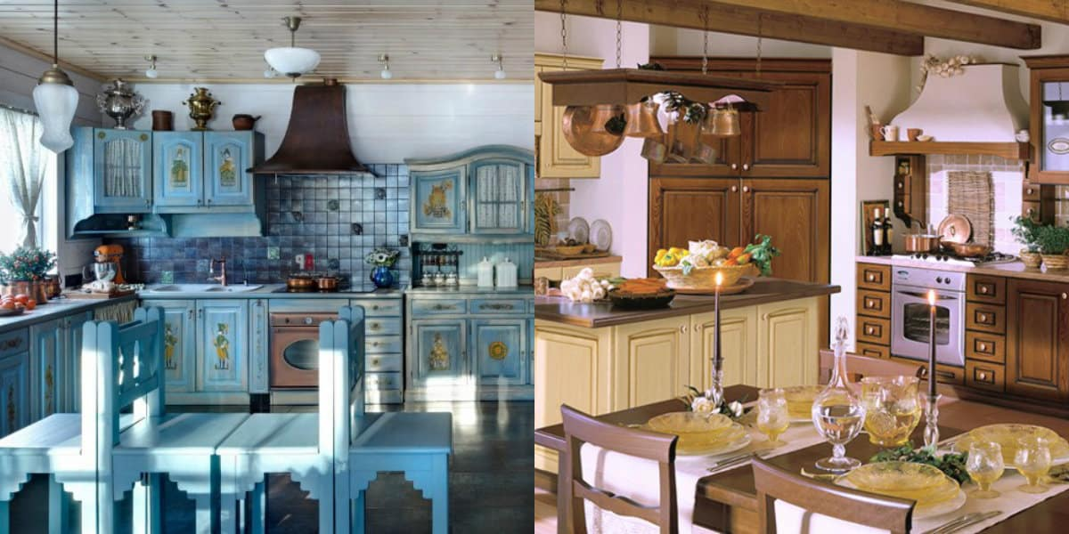 Кухня в итальянском стиле: окрашеная мебель