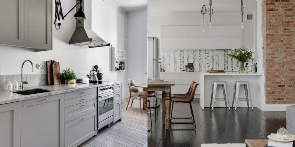 Кухня в скандинавском стиле: деревянные полы