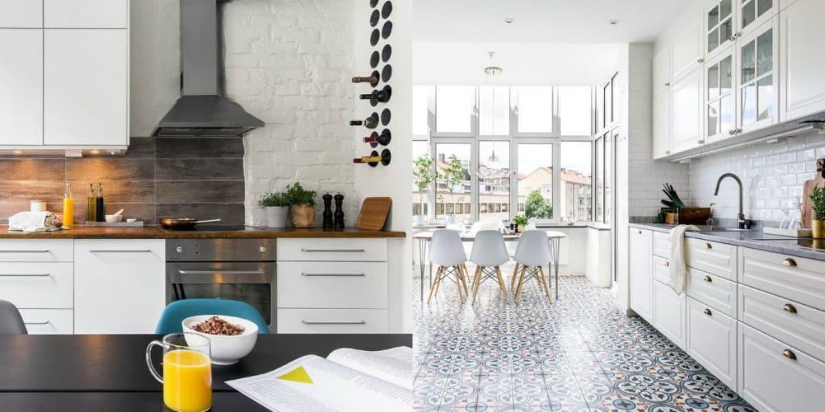 Кухня в скандинавском стиле: кирпичная кладка